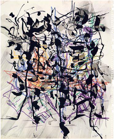 Jean Paul Riopelle, Sans titre, 1963, encre et feutre sur papier, 43 x 35 cm