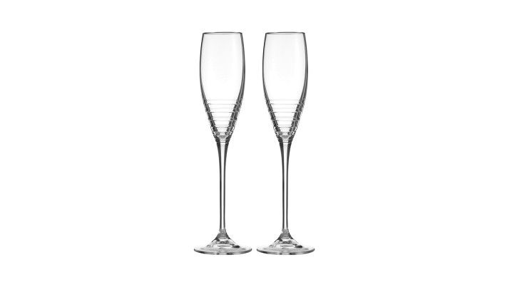 Vera Wang for Wedgwood Pair of Grosgrain Nouveau Platinum Champagne Flutes Buy Online at LuxDeco