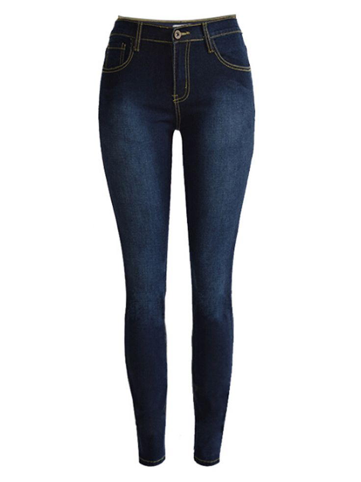 Dark Blue High Waist Washed Skinny Jeans