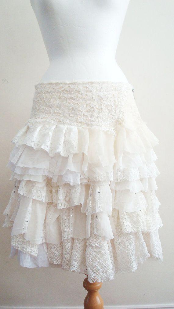 Upcycled Skirt Woman's Clothing Ivory Cream by BabaYagaFashion, $98.00