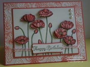 Pleasant poppies ; Modern label punch ; Lacy brocade TIEF ; Birthday