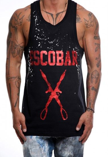 escobar red #vagrancylifestyle #handmade #top #man #sleeveless #tshirt