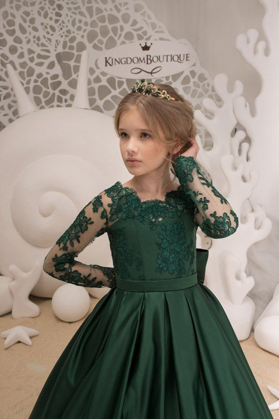 99f080fd0 Emerald Green Flower Girl Dress - Wedding Holiday Party Bridesmaid ...