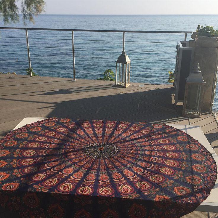 #mornings like this with my #roundie 💙☀️🇬🇷 #mandala #prints #sea #view #beachlife 😎