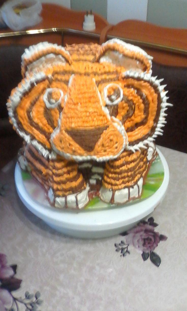 """Торт """"Тигр"""" #торт_на_заказ_александрия #день_рождения #бисквитный_торт #слоеный_торт"""