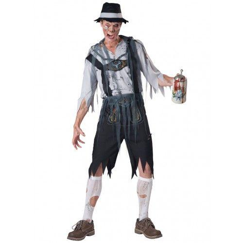 Zombie Lederhosen Costume for Men! Become a German, beer-drinking zombie. Perfect for Halloween!