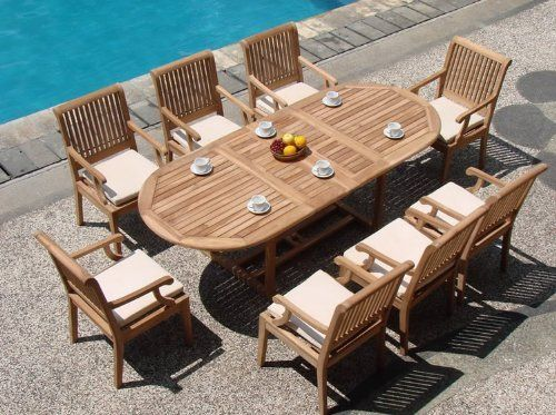 """New 9 Pc Luxurious Grade-A Teak Dining Set - 94"""" Double Extension Oval Table And 8 Arm Chairs [Model:SK3] by WholesaleTeak. $1869.99. You can lengthen the table with minimal effort by simply opening the butterfly leaf extensions.. Teak wood is an extremely dense course grained hardwood and is widely known for its durability.. ADD SUNBRELLA FABRIC CUSHIONS BY SEARCHING """"Wholesaleteak Dining Cushion"""" ON AMAZON, CUSTOM MADE FOR THESE STYLE CHAIRS. Oval Table Dimension: 71"""" L ..."""
