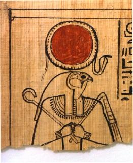 """University of Michigan Papyrus Collection & Archives  Detail of the Egyptian god Re-Horakhty on a fragment of the Book of the Dead for the """"Chantress of Amun"""" (P.Mich.inv. 3524). This fragments dates to circa 1200 BCE."""