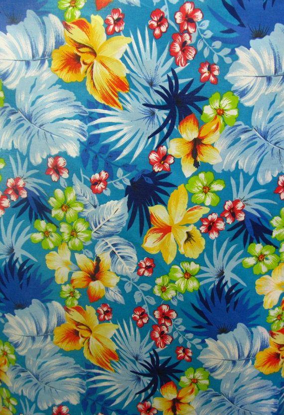 Poly Cotton Print Hawaiian on Aqua Blue Background 60