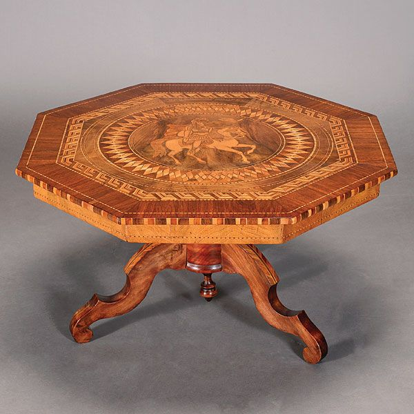 Italian Octagonal Pictorial Inlaid Table, 19th Century, Estimate:  $900/1,200 #marquetry #furniture #michaans  Http://www.michaans.com/highlights/201u2026