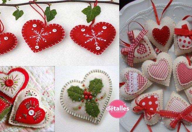 Adornos navideños para el árbol con forma de corazón