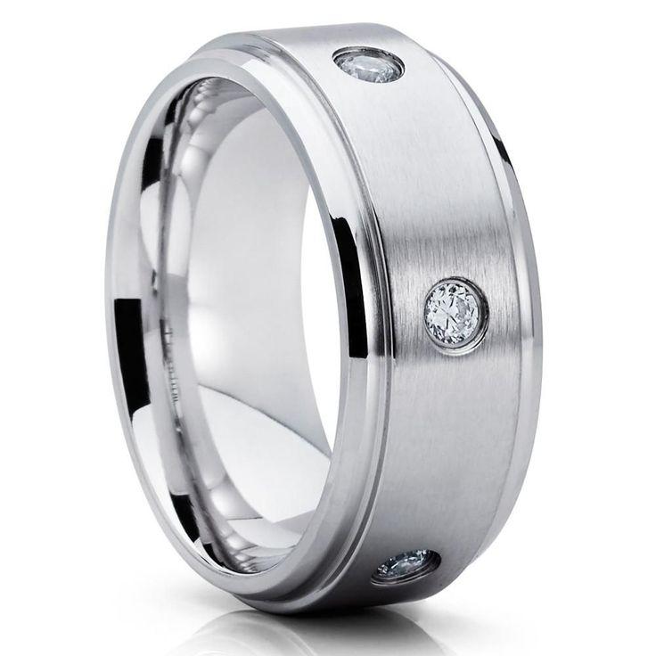 9mm - Titanium Wedding Band - CZ Wedding Band - Anniversary Ring - Matte