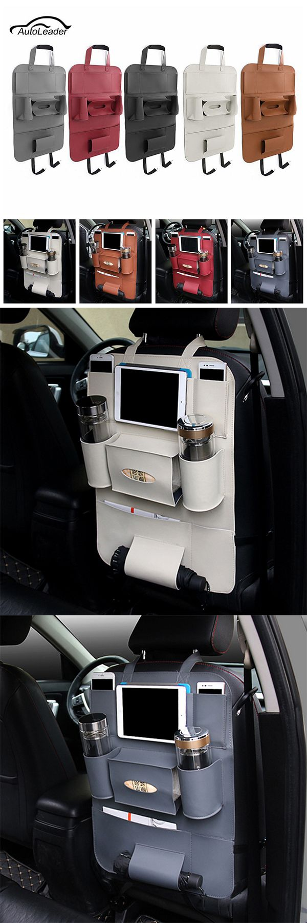 US$14.61 Multifunctional Pocket Car Backseat Phone Holder PU Leather Seat Organizer Storage for Phone Tablet