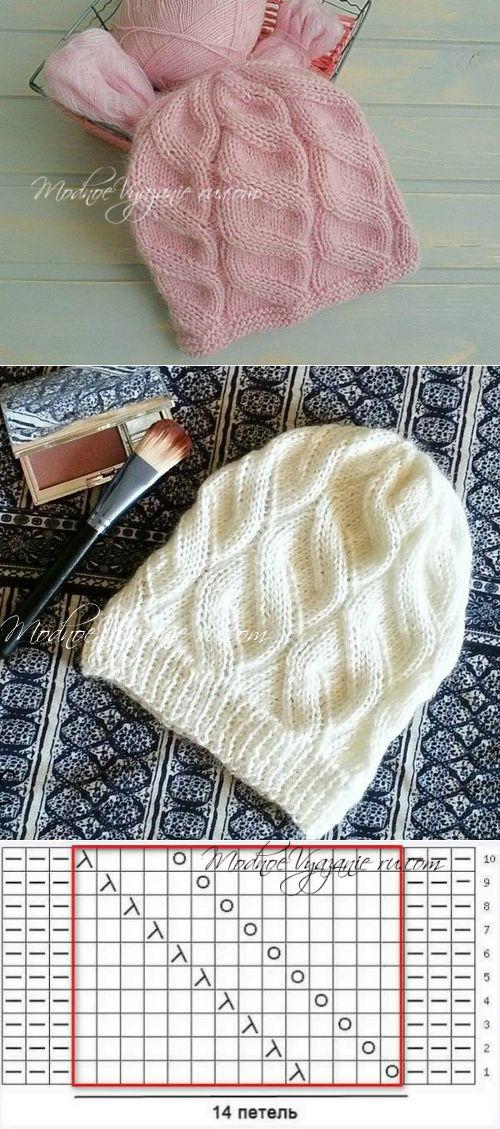 Шапка для девочки узором ложная коса - Модное вязание