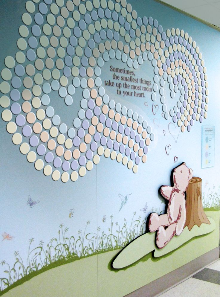 Mt. Sinai Hospital Children's Donor Wall Individual donor circles are added as donations are given. The teddy bear was custom illustrated as part of the sweet children's donor wall design.