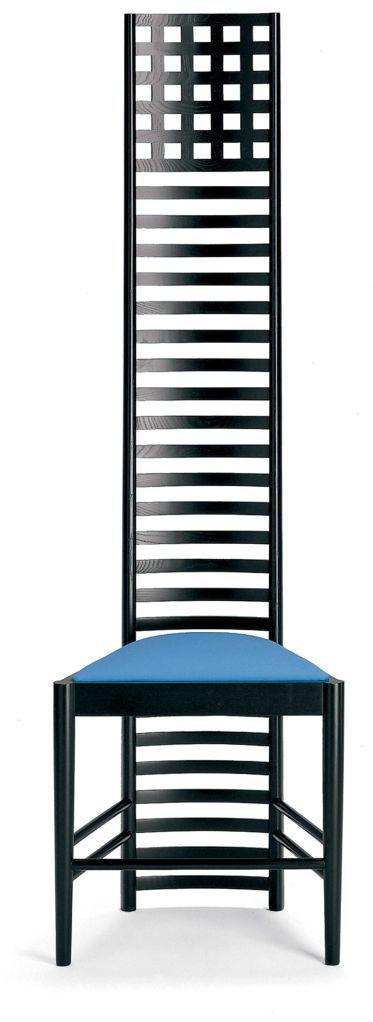 Hill Chair – Mackintosh  La Hill Chair fue diseñada por el arquitecto y diseñador escocés Charles Rennie Mackintosh en 1902, y está considerada uno de los primeros diseños del Movimiento Moderno. Está fabricada y comercializada por Cassina desde 1973.