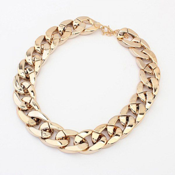 Simple Chic Style Thick Chain Necklace For Women, GOLD in Necklaces   DressLily.com