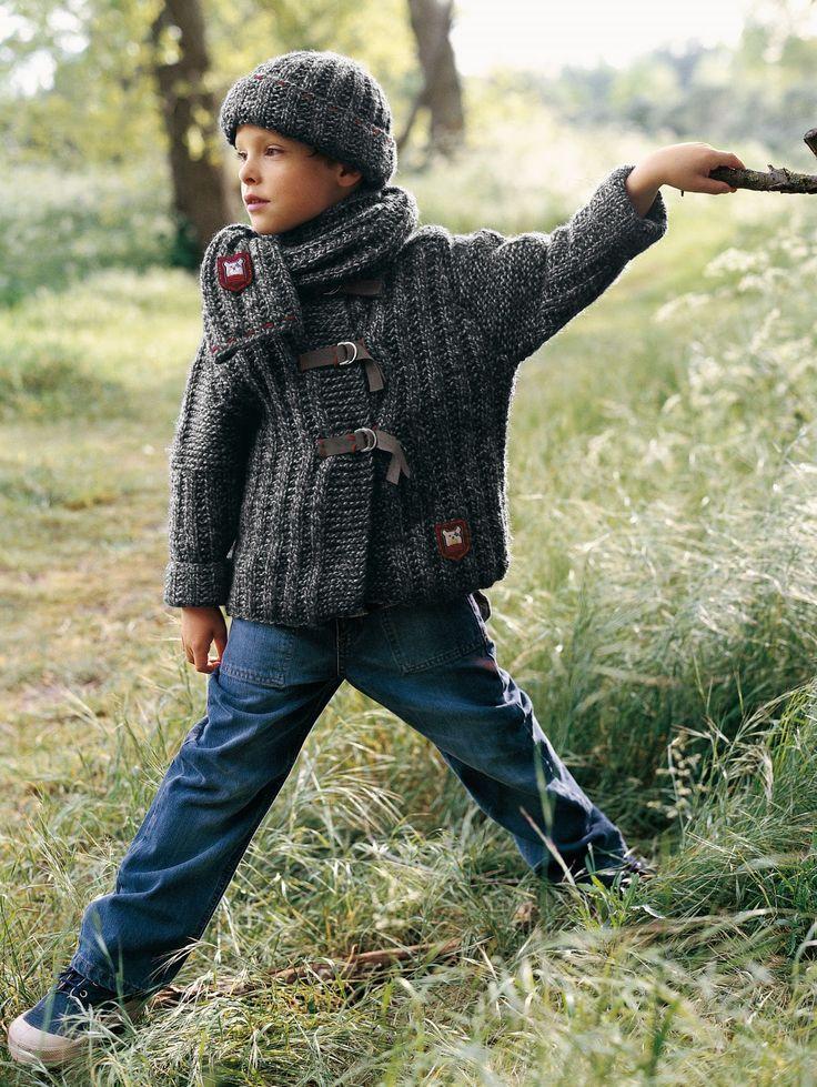 [Patron gratuit] Veste, bonnet et écharpe pour petit garçon 6,8,10 et 12 ans