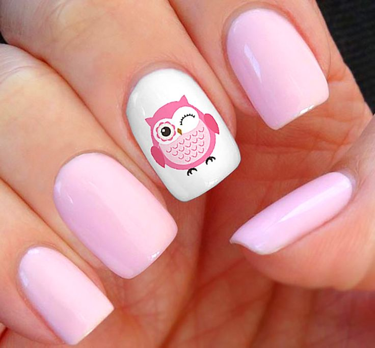 Simple White And Pink Polish With Pink Owl Tip Nail Art