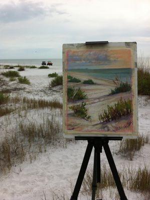 Plein air painting on the beach.  Jill Stefani Wagner