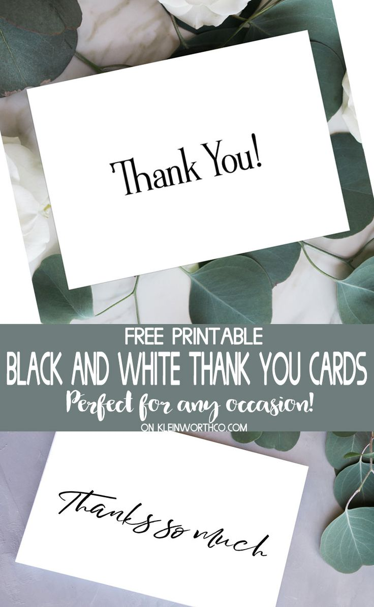 Black & White Thank You Cards - Free Printable for all those that were so gracious. Simple & elegant, these are perfect for any occasion. Download & print today. via @KleinworthCo #download #printable #thankyou #cards #holiday #birthday #christmas #gift #freeprintable #blackandwhite
