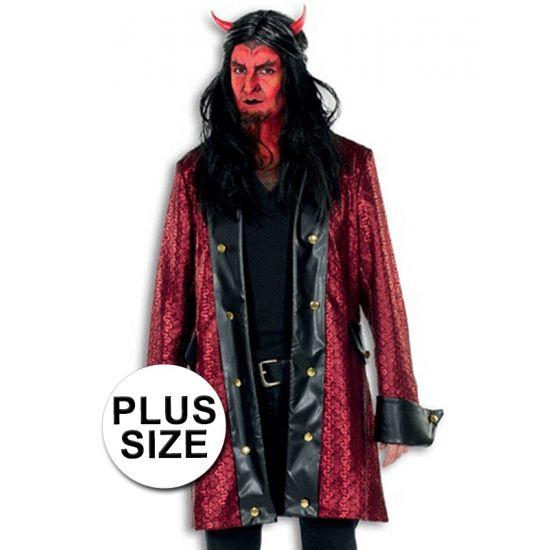 Luxe grote maten duivelsjas voor heren rood/zwart. Deze lange duivelsjas voor heren heeft een rode print en zwarte accenten. Verder zitten er goudkleurige sierknopen op de jas.