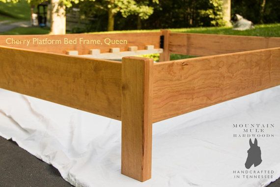 Simple Queen Size Platform Bed Frame, Custom Made of American Hardwoods: Ash, Red or White Oak, Curly Maple, Ambrosia Maple, Walnut, Cherry