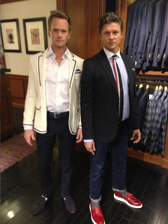 Neil Patrick Harris and David Burtka suit up in style in our New York store