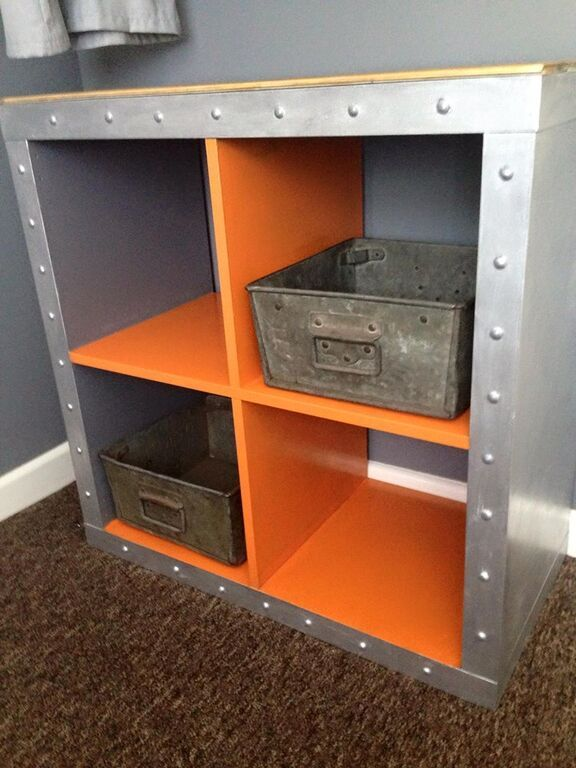 I upcycled the ikea expedit now kallax cube to match the industrial decor o - Etagere cube ikea expedit ...