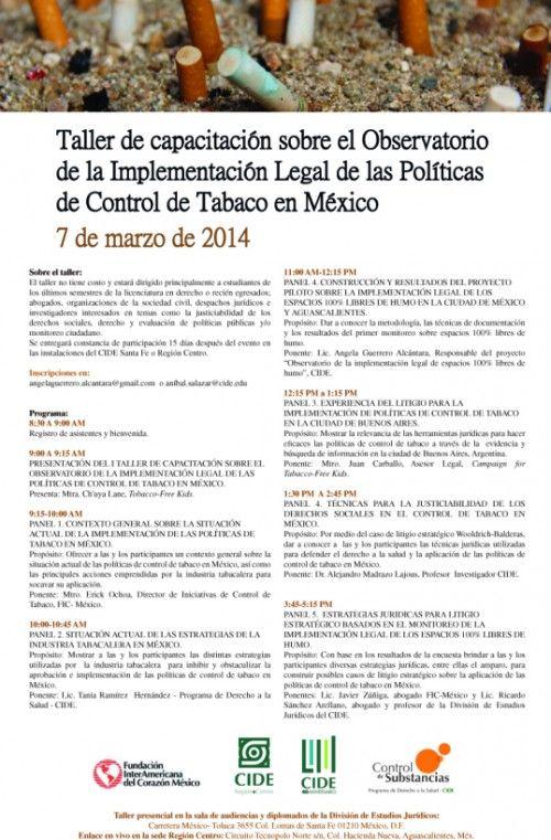 Impartirá el CIDE taller sobre implementación legal de las políticas de control de tabaco en México
