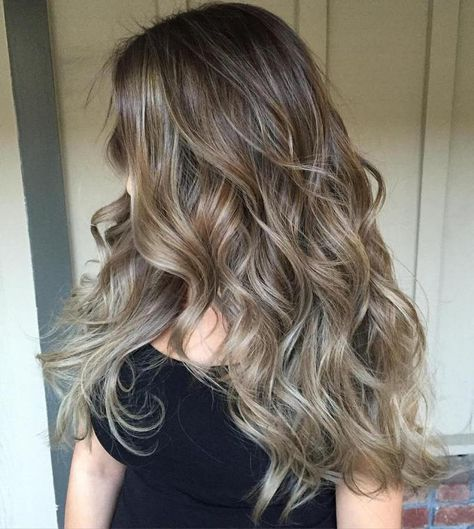 Brown Hair With Ash Blonde Balayage | Hair Inspo. Hair Ideas. Hair Color. Hair Color Ideas. Brunette. Highlights. Lowlights. Bronde. Ash blonde