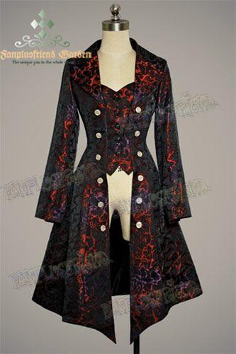 Veste gilet noire et rouge brocart élégante gothique aristocrate pirate
