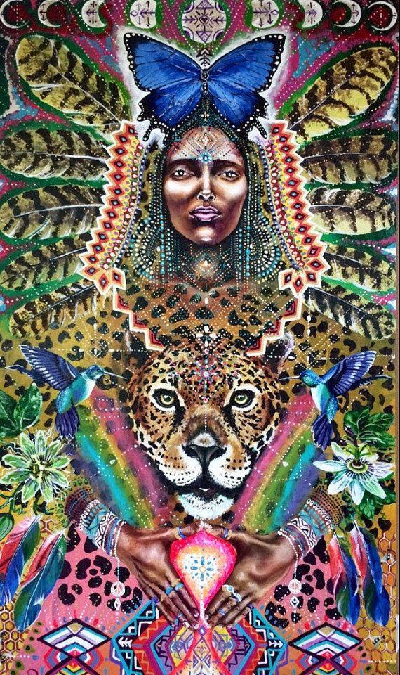 Viva Medicine Woman Humming Bird Moon Jaguar by MariposaGalactica