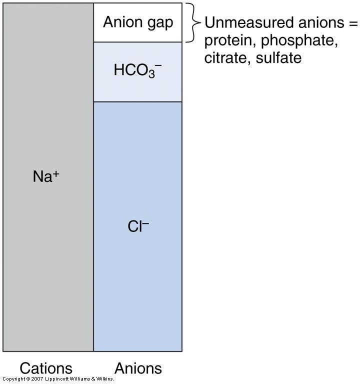 anion gap = sodium - (bicarb plus chloride) + 2.5(4-albumin) to correct for hypoalb. Increased in MUD PILES = methanol, uremia, DKA, paraldehyde, lactic acidosis, ethylene glycol, salicylate.