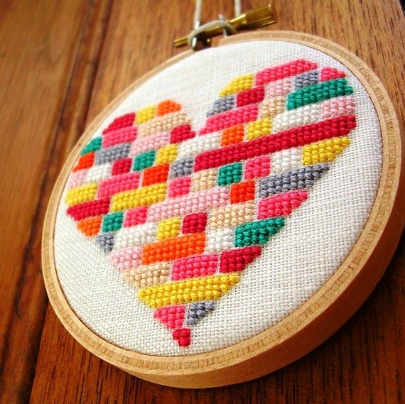Hello lego inspired heart cross stitch piece! I would make it and frame it for Valentines day decor. Heart cross stitch from GeorgicaDesigns