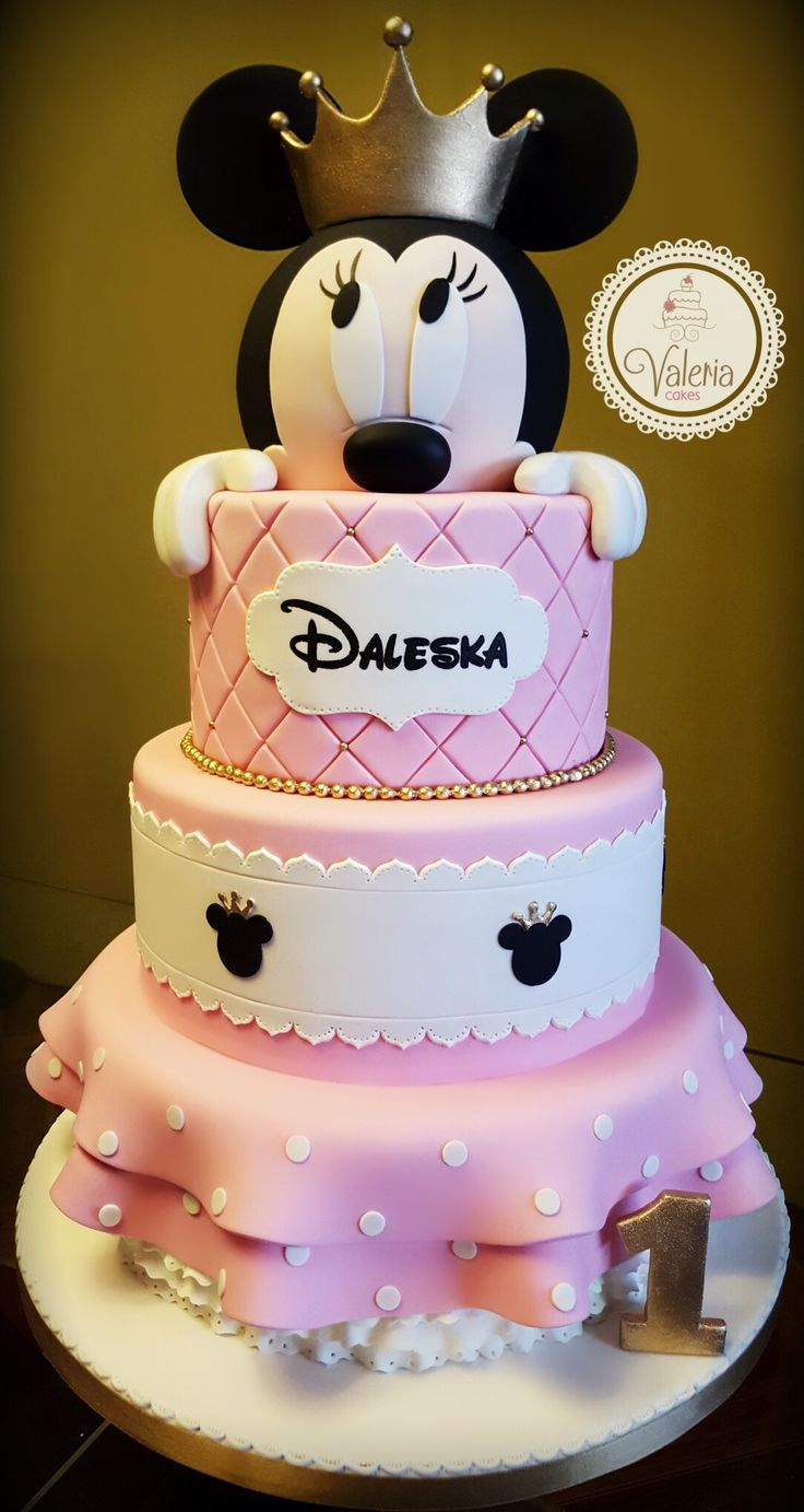 Gold And Pink Princess Minnie Fondant Cake ️ Torta De
