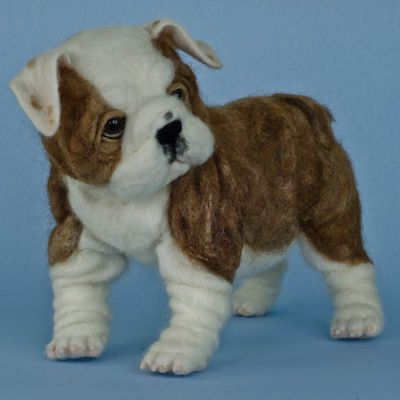 English bulldog puppy OOAK needle felted dog figurine TOBY award winning artist Olga Timofeevski,