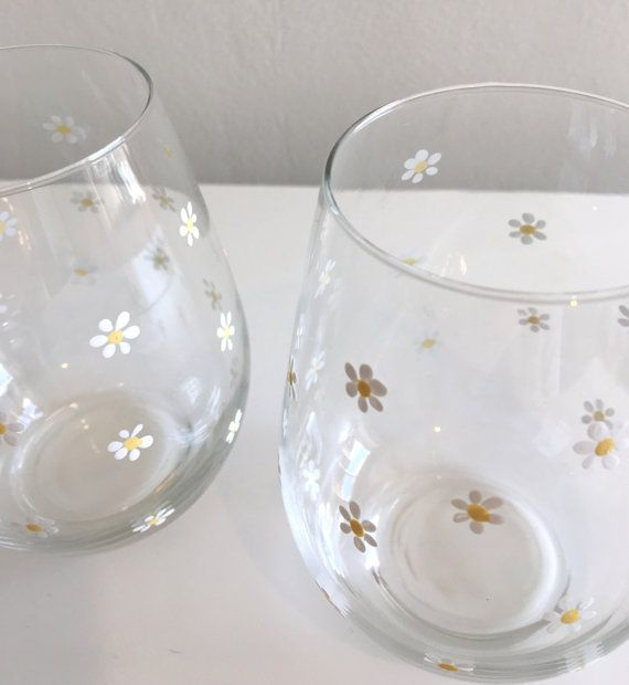 Wine glasses daisies special friend gift by DragonflyArtDesign1