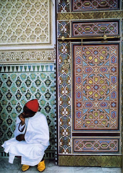 Photo by Bruno Barbey - Fez, Morocco. Mokhazni, member of the Royal Palace staff in traditional costume. 1986.