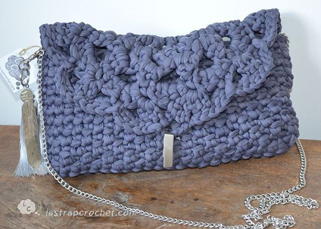 сумка крючком из трикотажной пряжи мешок