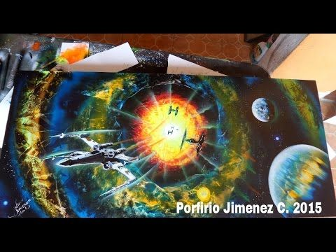 xwing fighter Star Wars spray paint art
