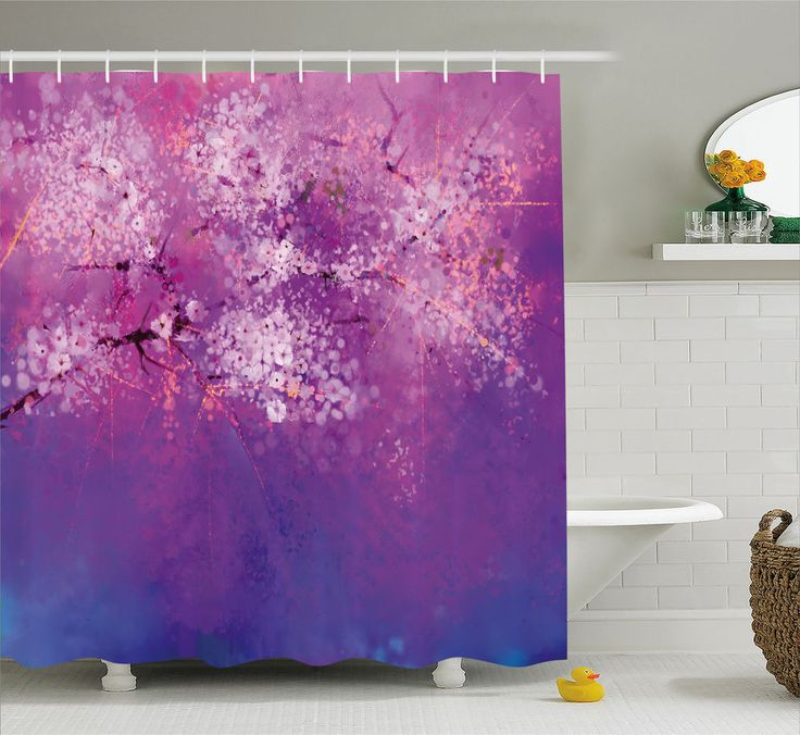Purple Shower Curtain Japanese Cherry Blossom Print for Bathroom 70 Inches Long #Ambesonne