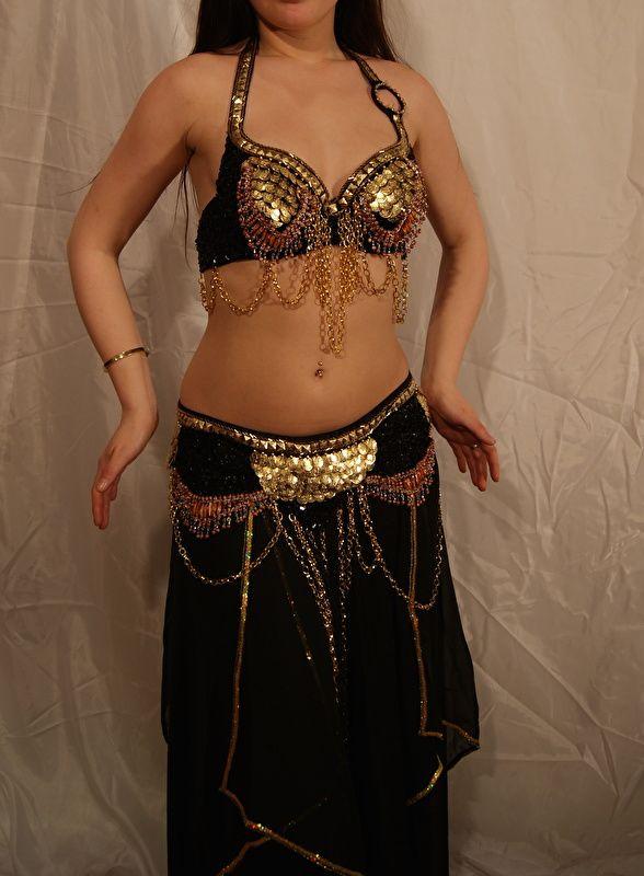 Tribal fusion buikdans kostuum 2-delig : BH + heupgordel in ZWART GOUD - 2-piece…