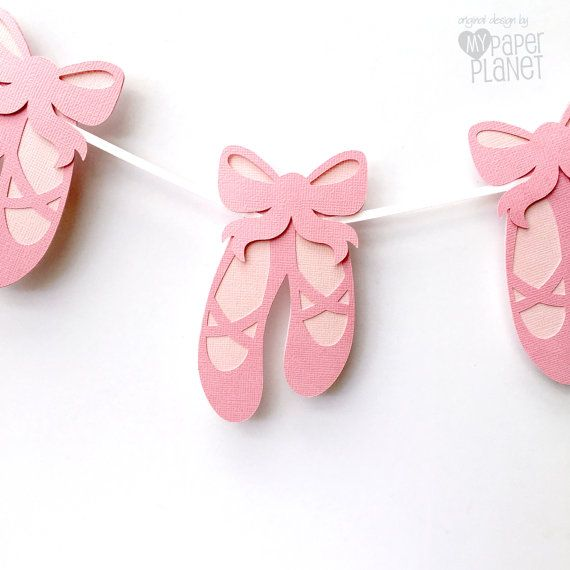 Ballet Shoes Party Banner. Baby girl baby shower or Birthday party garland. Custom decorations by MyPaperPlanet