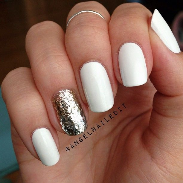 white + silver accent nail