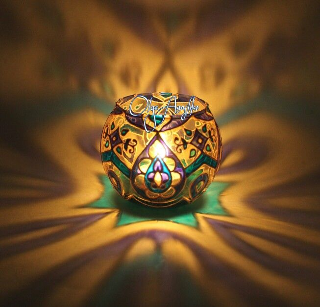 """The candlestick emerald """"Oriental tales"""". Stained glass painting."""