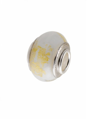 Amore & Baci white and gold Murano glass silver bead