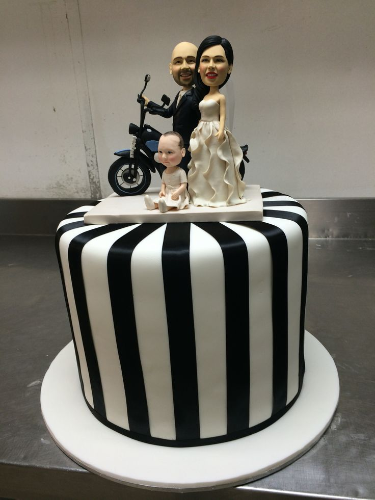 Black and white striped 1 tier wedding cake with motorbike and family cake topper  www.casadel.com.au