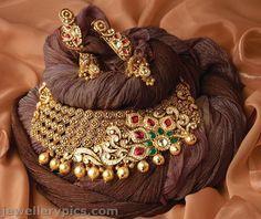 Exclusive TBZ gold necklace choker bridal collection designs