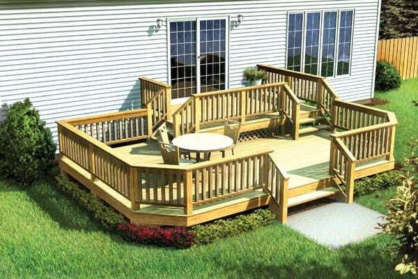 two level deck w angle corners project plan 90042 outdoor living decks and deck steps. Black Bedroom Furniture Sets. Home Design Ideas